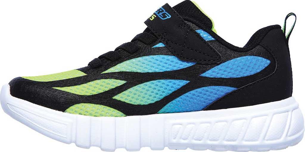 Boys' Skechers S Lights Flex-Glow Dezlo Sneaker, Black/Blue/Lime, large, image 3