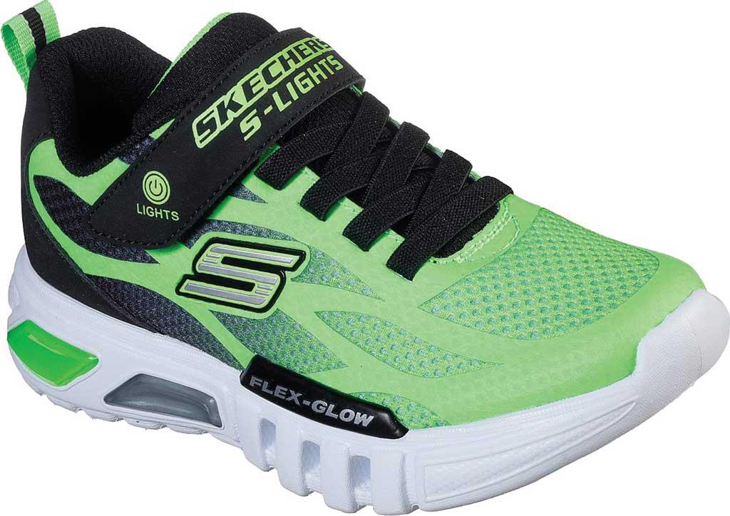 Boys' Skechers S Lights Flex-Glow Dezlo Sneaker, Lime/Black, large, image 1