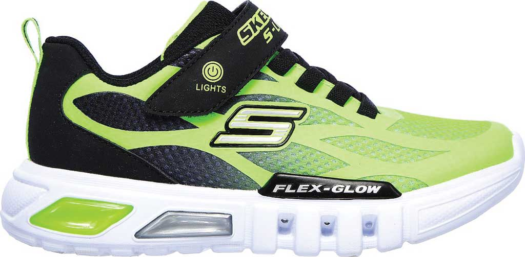 Boys' Skechers S Lights Flex-Glow Dezlo Sneaker, Lime/Black, large, image 2