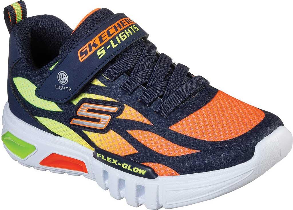 Boys' Skechers S Lights Flex-Glow Dezlo Sneaker, Navy/Orange, large, image 1