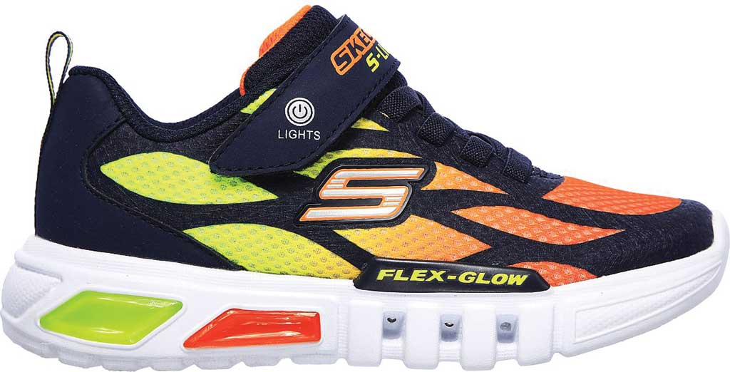 Boys' Skechers S Lights Flex-Glow Dezlo Sneaker, Navy/Orange, large, image 2