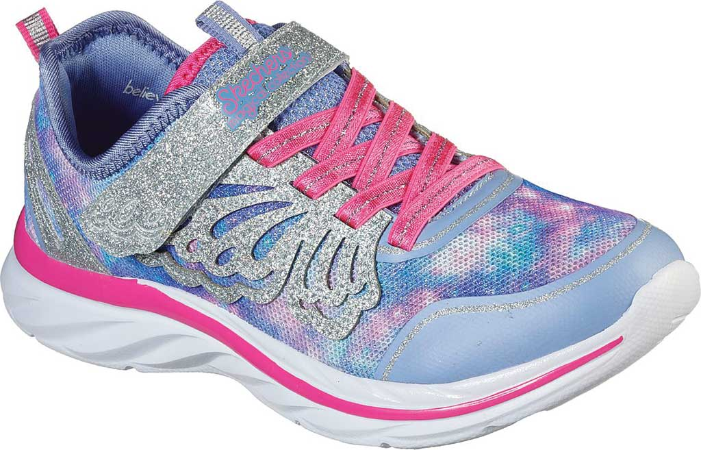 Girls' Skechers Quick Kicks Fairy Glitz Sneaker, Periwinkle/Pink, large, image 1