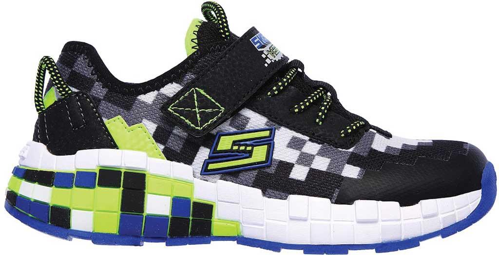 Boys' Skechers Mega-Craft Sneaker, Black/Blue/Lime, large, image 2