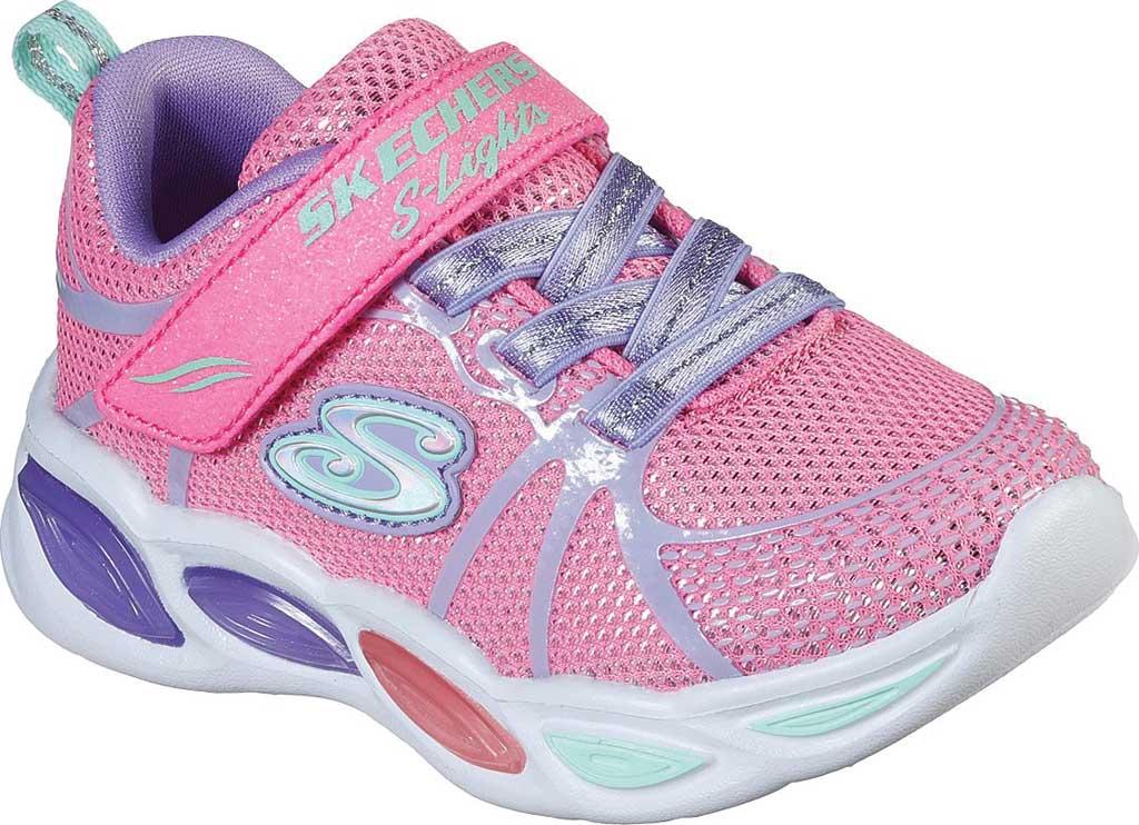 Infant Girls' Skechers S Lights Shimmer Beams Sporty Glow Sneaker, Pink/Multi, large, image 1