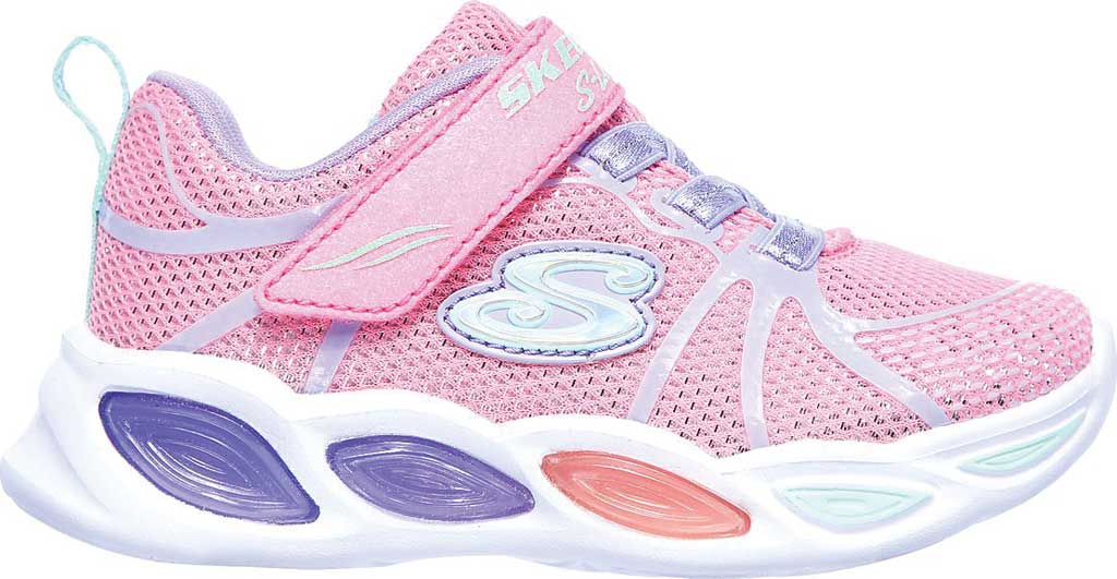 Infant Girls' Skechers S Lights Shimmer Beams Sporty Glow Sneaker, Pink/Multi, large, image 2