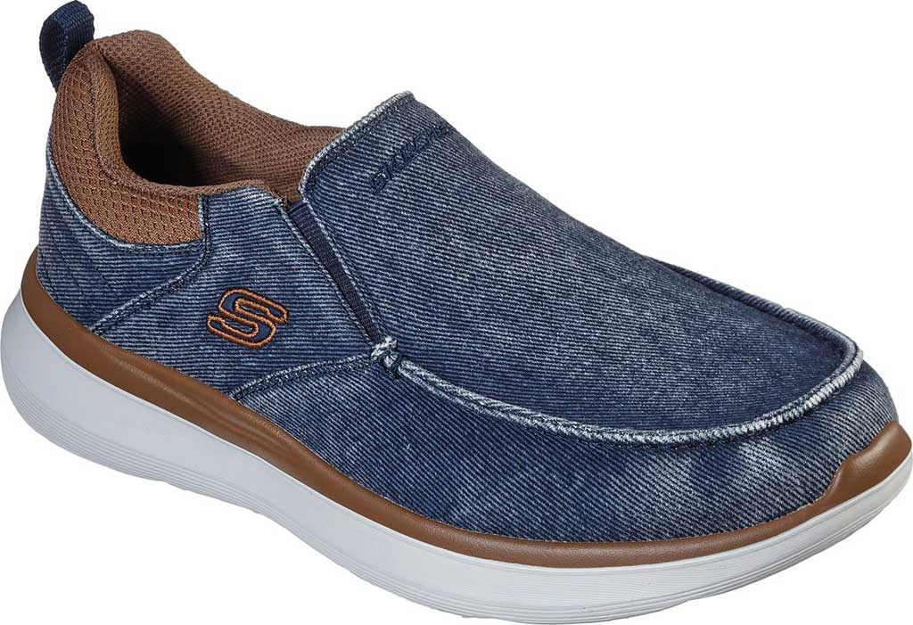 Men's Skechers Delson 2.0 Larwin Slip On, Navy, large, image 1