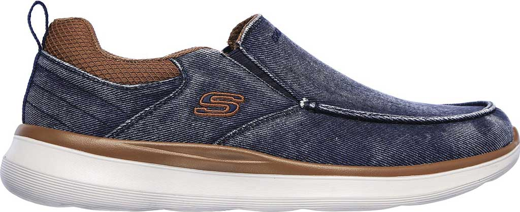 Men's Skechers Delson 2.0 Larwin Slip On, Navy, large, image 2