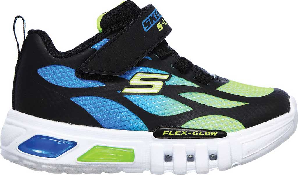 Infant Boys' Skechers S Lights Flex-Glow Dezlo Sneaker, Black/Blue/Lime, large, image 2