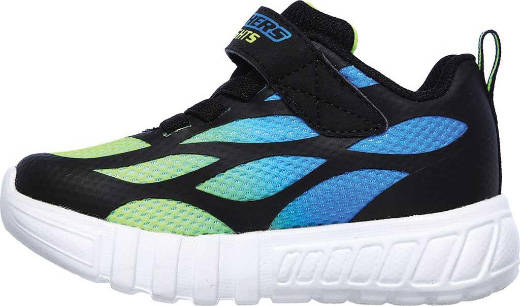 Infant Boys' Skechers S Lights Flex-Glow Dezlo Sneaker, Black/Blue/Lime, large, image 3