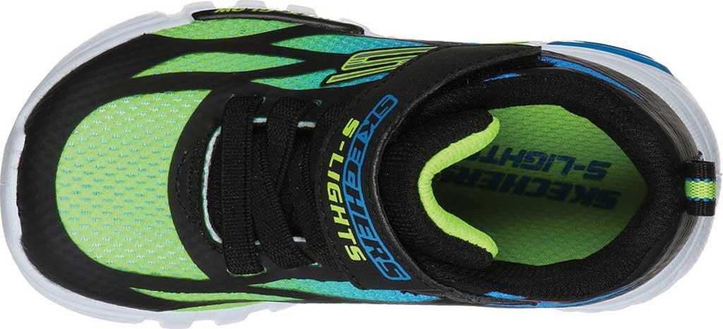 Infant Boys' Skechers S Lights Flex-Glow Dezlo Sneaker, Black/Blue/Lime, large, image 4