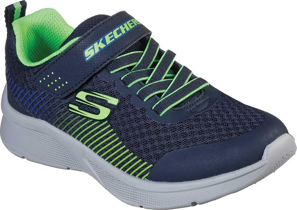Boys' Skechers Microspec Gorza Sneaker, Navy/Lime, large, image 1