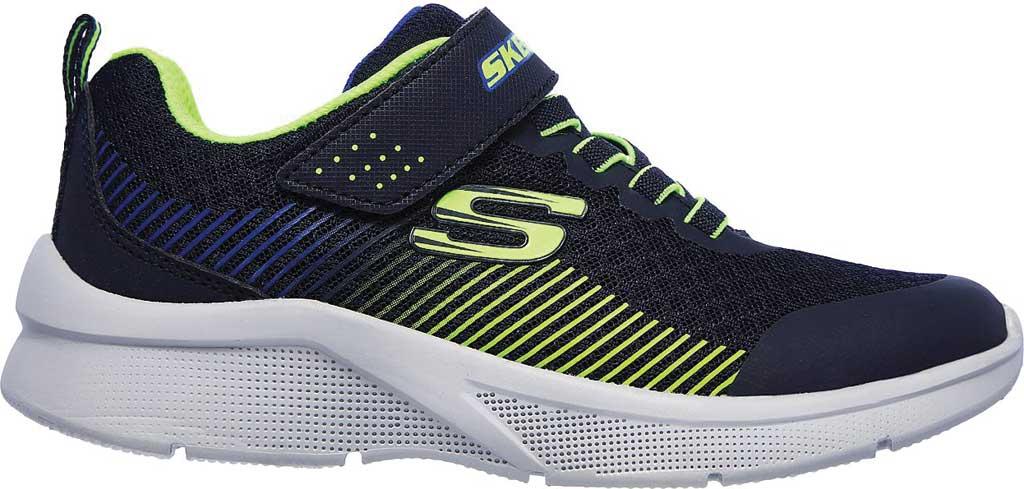 Boys' Skechers Microspec Gorza Sneaker, Navy/Lime, large, image 2