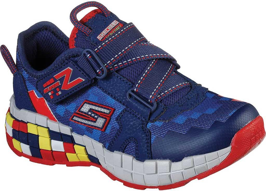 Boys' Skechers Mega-Craft Cubotrons Sneaker, Navy/Red, large, image 1