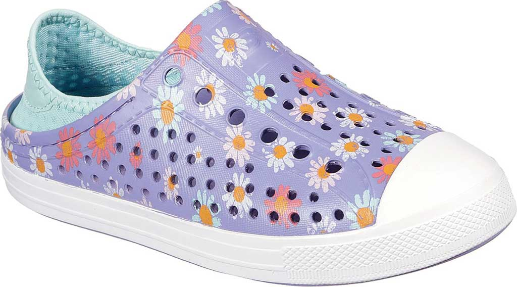 Girls' Skechers Foamies Guzman Steps Hello Daisy Sneaker, Lavender, large, image 1