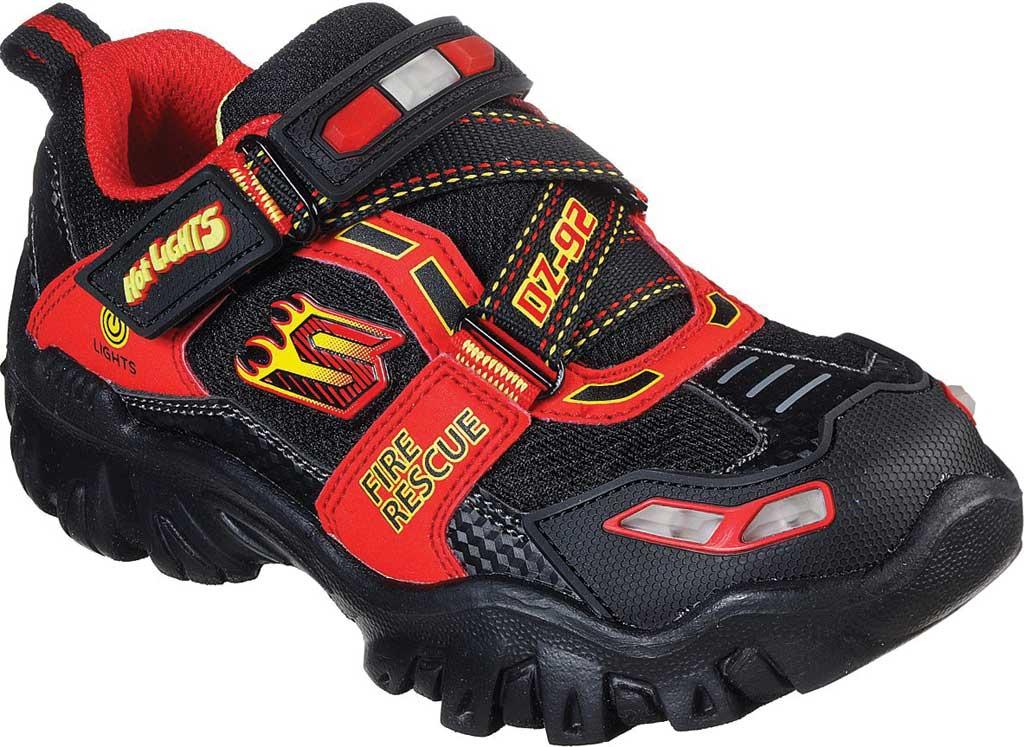 Boys' Skechers Hot Lights Damager III Fire Stopper Sneaker, Black/Red, large, image 1