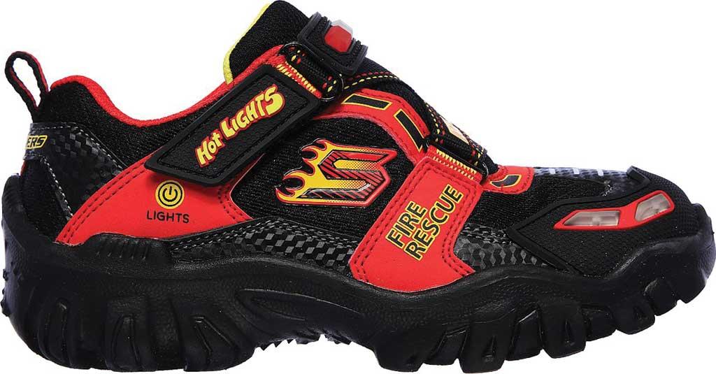 Boys' Skechers Hot Lights Damager III Fire Stopper Sneaker, Black/Red, large, image 2