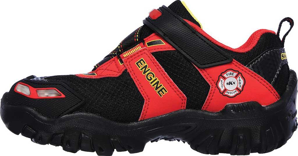 Boys' Skechers Hot Lights Damager III Fire Stopper Sneaker, Black/Red, large, image 3