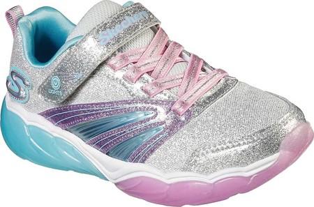 Girls' Skechers S Lights Fusion Flash Sneaker, Silver/Lavender, large, image 1