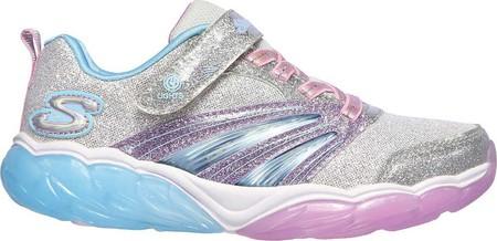 Girls' Skechers S Lights Fusion Flash Sneaker, Silver/Lavender, large, image 2