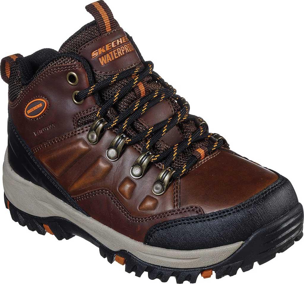 Boys' Skechers Relment Traven Waterproof Boot, Dark Brown, large, image 1