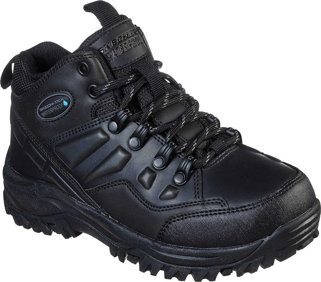Boys' Skechers Relment Traven Waterproof Boot, Black/Black, large, image 1