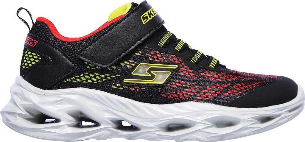 Boys' Skechers S Light Vortex-Flash Sneaker, Black/Red, large, image 2