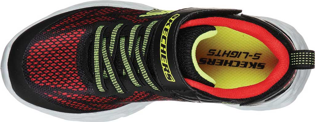 Boys' Skechers S Light Vortex-Flash Sneaker, Black/Red, large, image 4