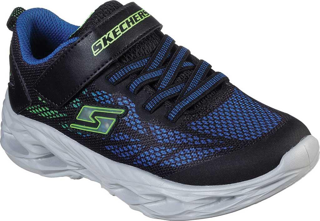 Boys' Skechers S Light Vortex-Flash Sneaker, Black/Blue/Lime, large, image 1