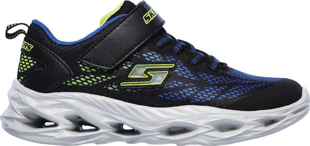 Boys' Skechers S Light Vortex-Flash Sneaker, Black/Blue/Lime, large, image 2