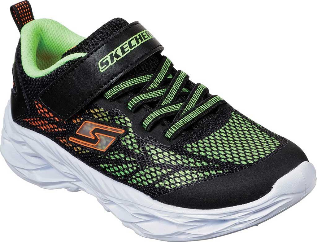 Boys' Skechers S Light Vortex-Flash Sneaker, Black/Lime, large, image 1