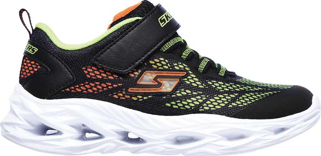 Boys' Skechers S Light Vortex-Flash Sneaker, Black/Lime, large, image 2
