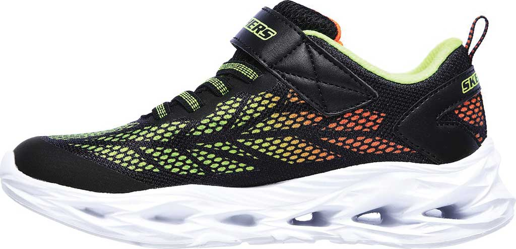 Boys' Skechers S Light Vortex-Flash Sneaker, Black/Lime, large, image 3