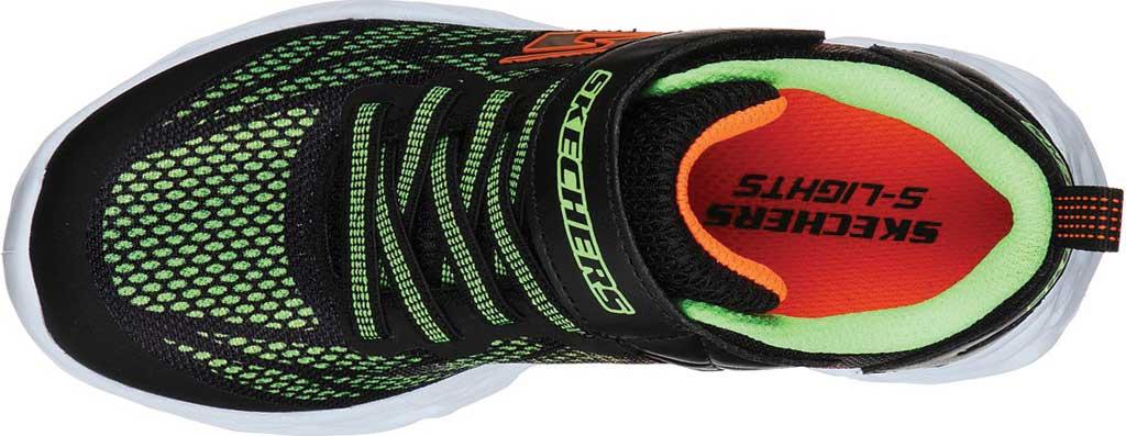 Boys' Skechers S Light Vortex-Flash Sneaker, Black/Lime, large, image 4