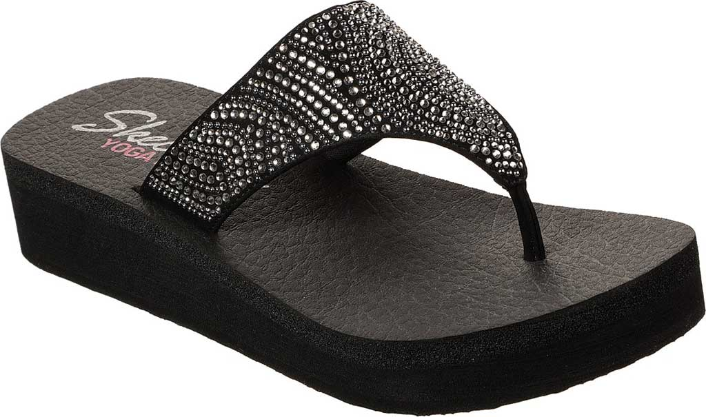 Women's Skechers Vinyasa Stone Candy Thong Sandal, Black, large, image 1