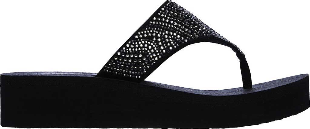 Women's Skechers Vinyasa Stone Candy Thong Sandal, Black, large, image 2