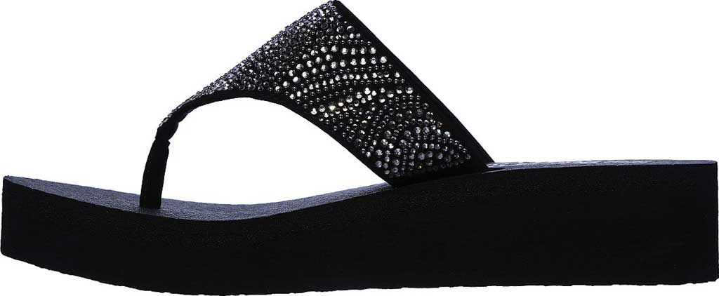 Women's Skechers Vinyasa Stone Candy Thong Sandal, Black, large, image 3