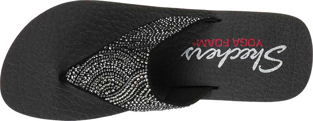 Women's Skechers Vinyasa Stone Candy Thong Sandal, Black, large, image 4