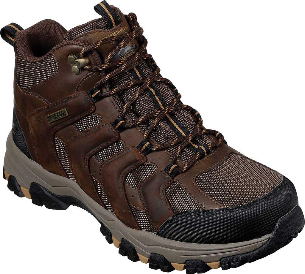 Men's Skechers Selman Relodge Mid Top Waterproof Lace Up Boot, Chocolate Dark Brown, large, image 1