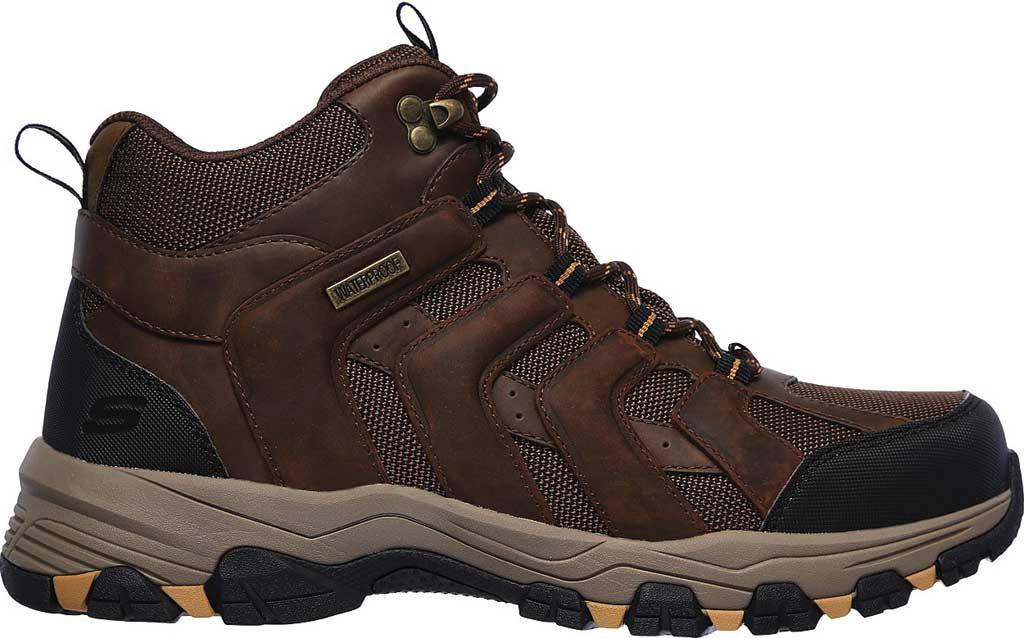 Men's Skechers Selman Relodge Mid Top Waterproof Lace Up Boot, Chocolate Dark Brown, large, image 2