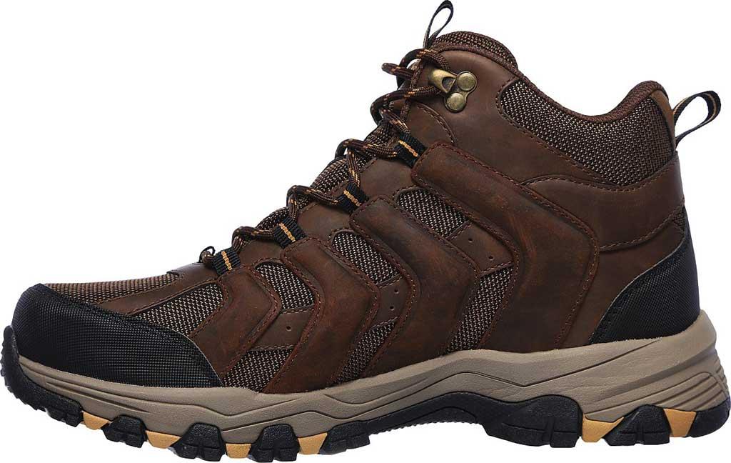 Men's Skechers Selman Relodge Mid Top Waterproof Lace Up Boot, Chocolate Dark Brown, large, image 3