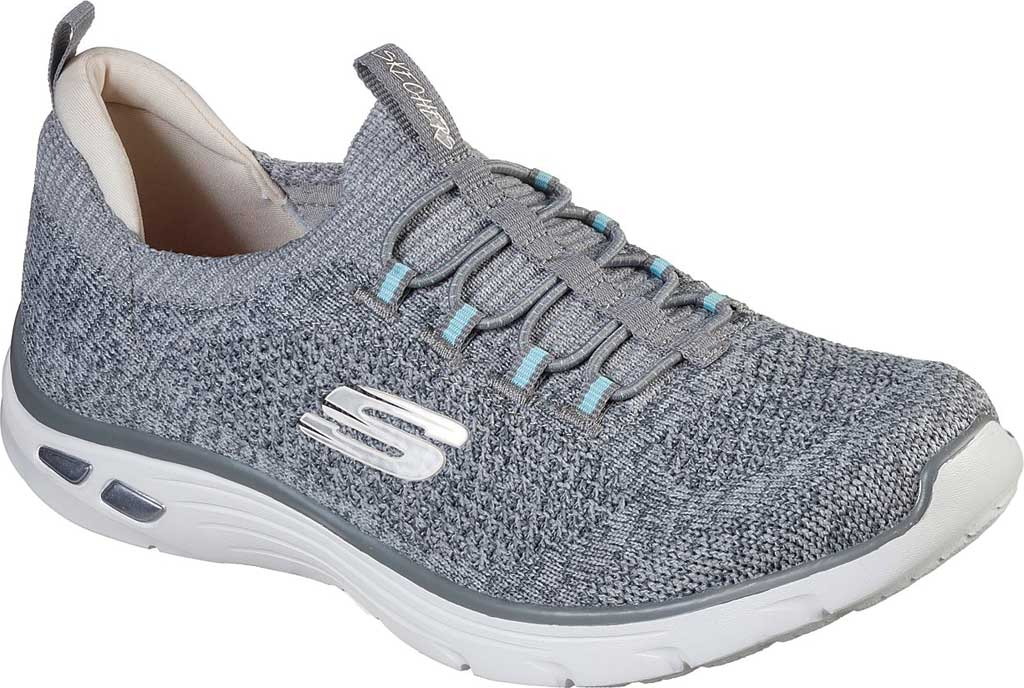 Women's Skechers Relaxed Fit Empire D'Lux Sharp Witted Sneaker, Gray/Light Blue, large, image 1