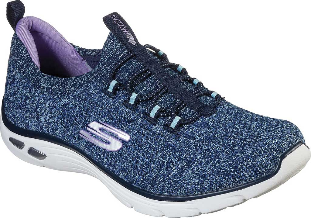Women's Skechers Relaxed Fit Empire D'Lux Sharp Witted Sneaker, Navy/Aqua, large, image 1