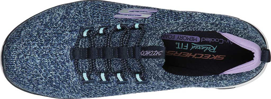 Women's Skechers Relaxed Fit Empire D'Lux Sharp Witted Sneaker, Navy/Aqua, large, image 4