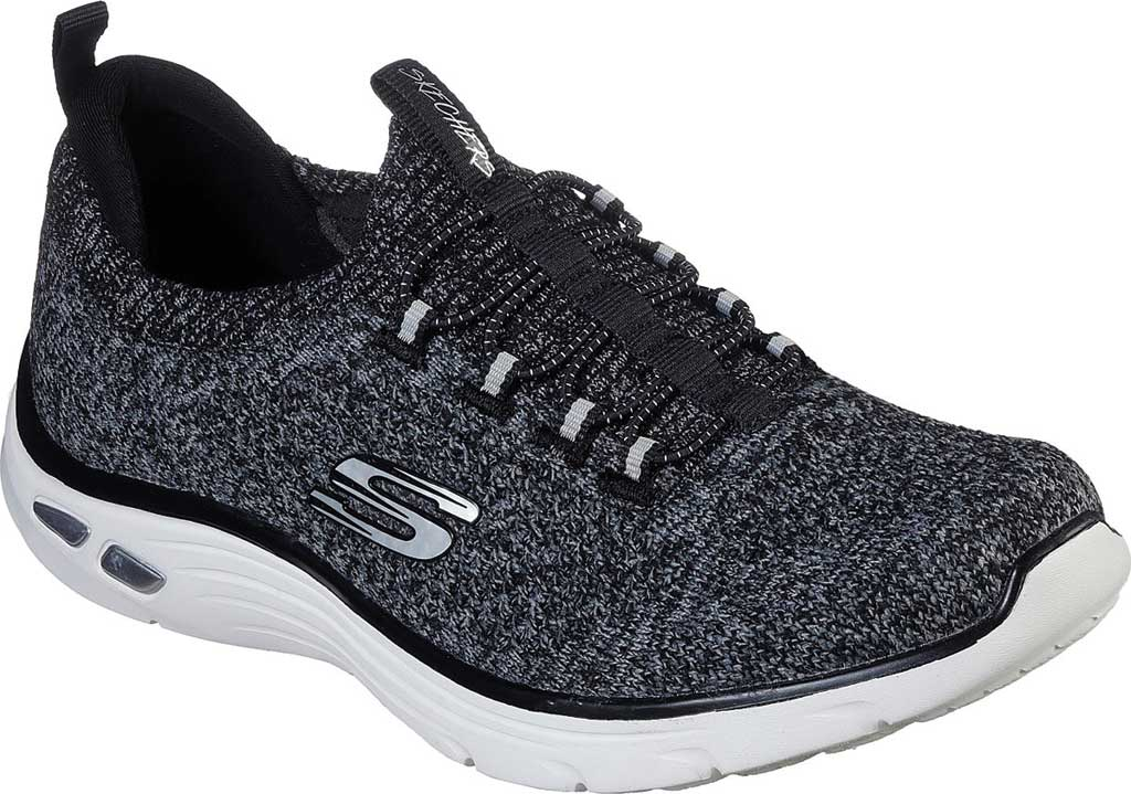 Women's Skechers Relaxed Fit Empire D'Lux Sharp Witted Sneaker, Black/White, large, image 1