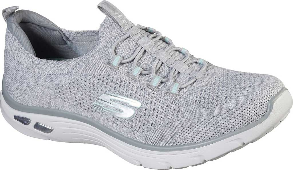Women's Skechers Relaxed Fit Empire D'Lux Sharp Witted Sneaker, White/Gray, large, image 1