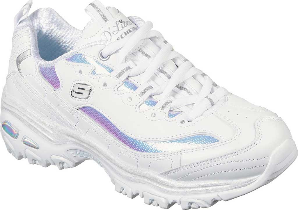 Women's Skechers D'Lites Ocean Dreaming Sneaker, White/Silver, large, image 1