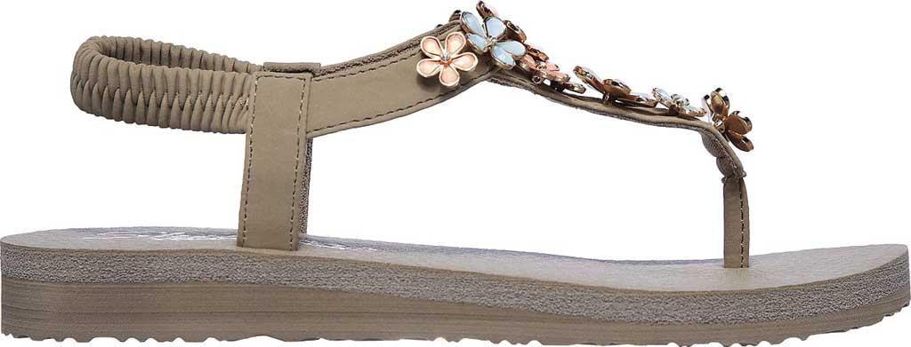 Women's Skechers Meditation Glass Daisy Thong Sandal, Taupe/Multi, large, image 2