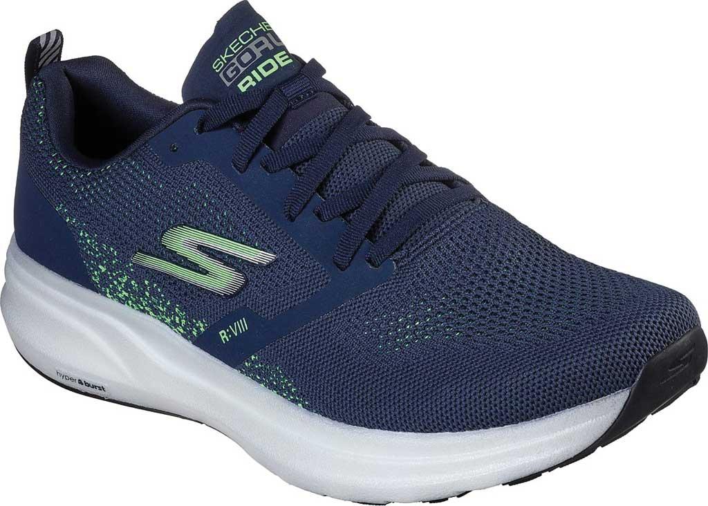 Men's Skechers GOrun Ride 8 Hyper Running Shoe, Navy/Green, large, image 1