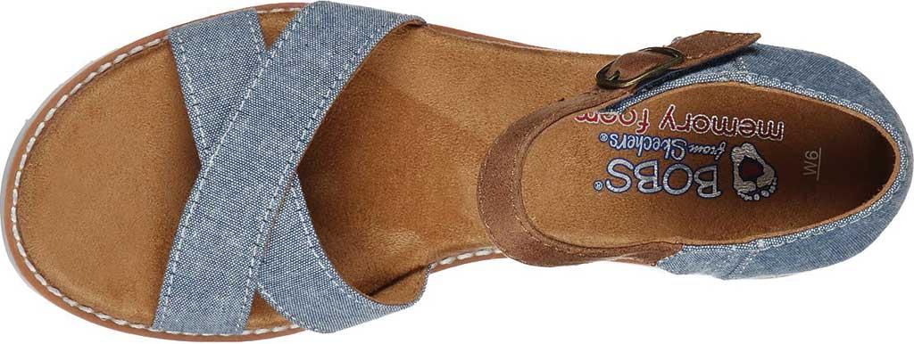 Women's Skechers BOBS Desert Kiss Party Crashers Wedge Sandal, Blue, large, image 4