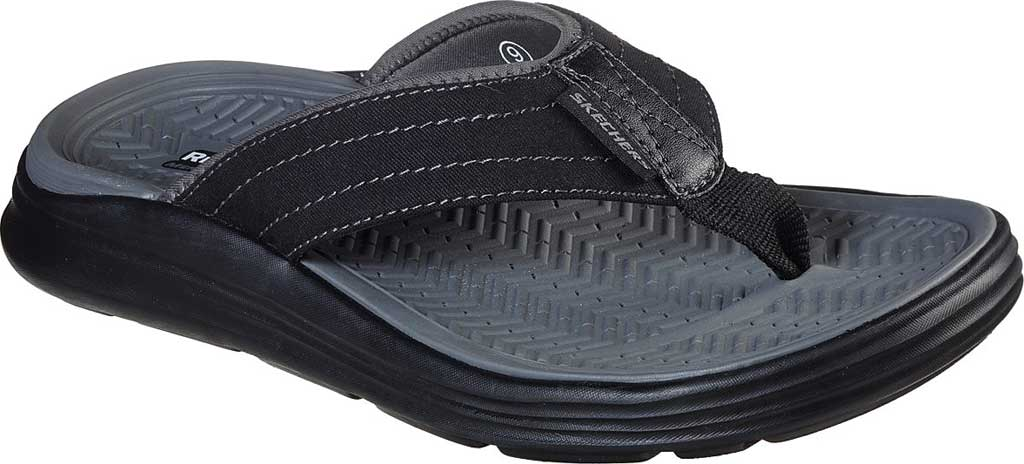 Men's Skechers Relaxed Fit Sargo Reyon Flip Flop, Black, large, image 1